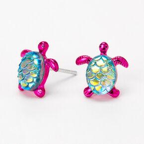 Sterling Silver Mermaid Turtle Stud Earrings - Purple,