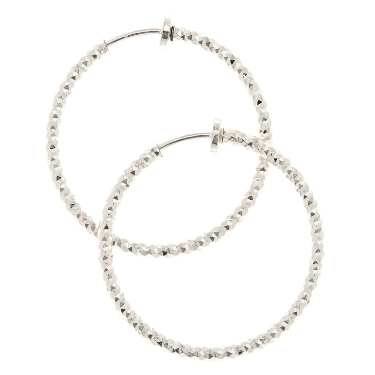 30MM Laser Cut Silver Clip On Hoop Earrings,