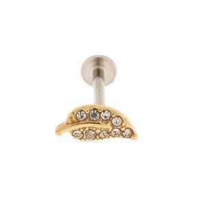 Gold 20G Leaf Tragus Stud Earring,