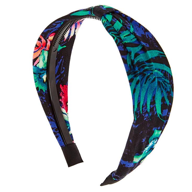 Navy Leaf Print Headband,