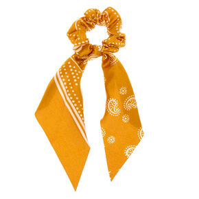 Small Paisley Hair Scrunchie Scarf - Mustard,