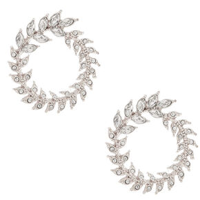 Silver Rhinestone Wreath Stud Earrings,