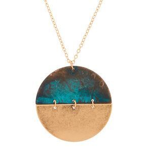 Gold Patina Half Moon Long Pendant Necklace,