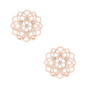 Rose Gold Filigree & Rhinestone Stud Earrings,