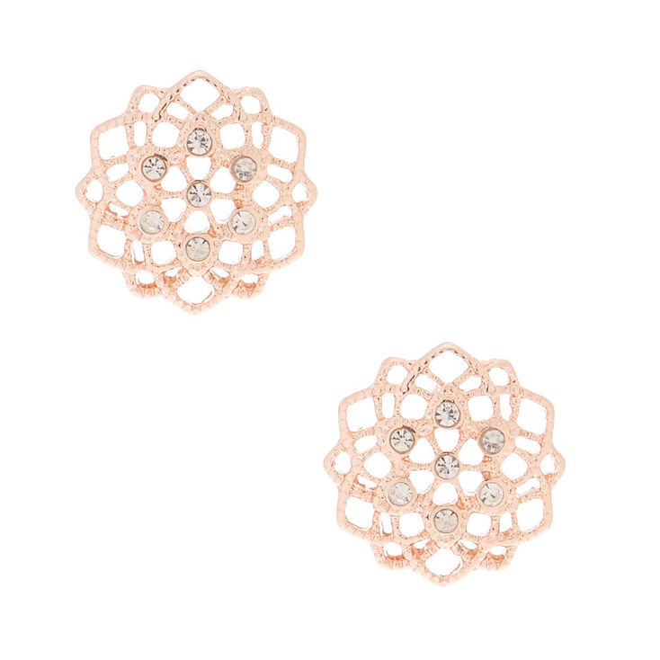 Rose Gold Filigree & Rhinestone Stud Earrings,