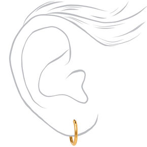 18kt Gold Plated 12MM Hoop Earrings,