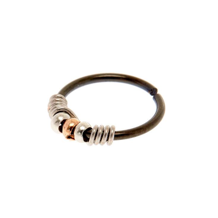 20G Black & Silver Coil Nose Ring,
