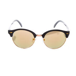 Round Browline Sunglasses - Black,