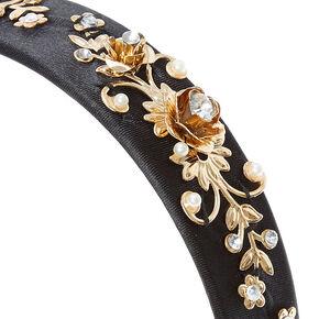 Gold Filigree Baroque Headband - Black,