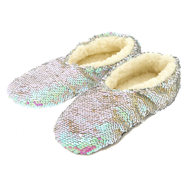 Iridescent Reversible Sequin Slippers,