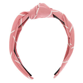 Striped Knotted Headband - Pink,