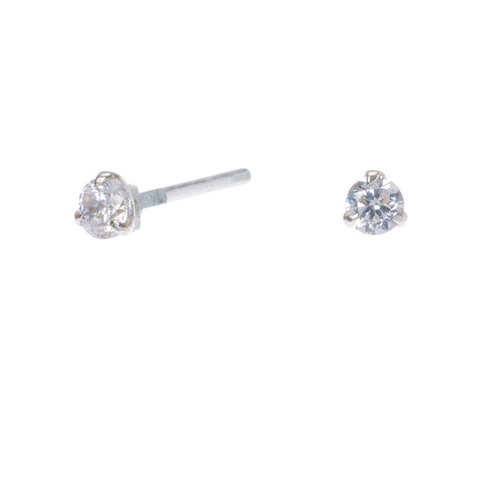 2MM Sterling Silver Cubic Zirconia Small Stud Earrings,
