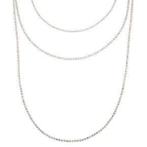 Silver Rhinestone Multi Strand Necklace,