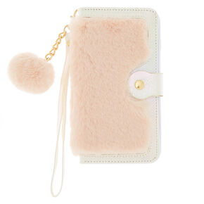 Blush Faux Fur Folio Phone Case - Pink,