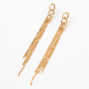 Gold Fringe Chain Link Drop Earrings,
