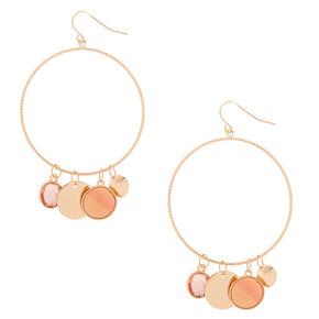"""Gold 3"""" Charm Hoop Drop Earrings - Coral,"""
