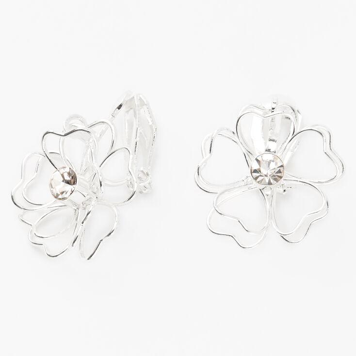 """Silver 1"""" Wired Flower Clip On Drop Earrings,"""