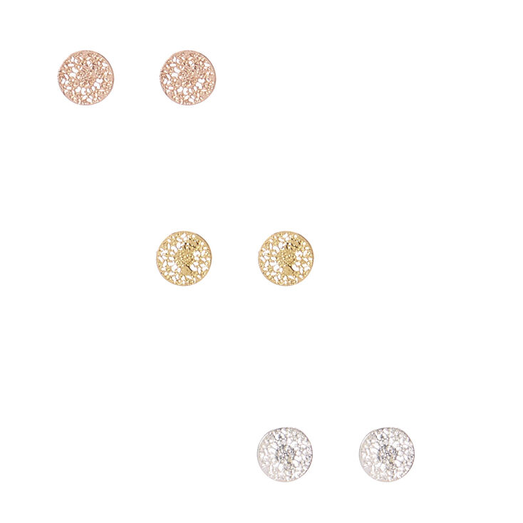 Gold Plated Filigree Disc Stud Earrings,