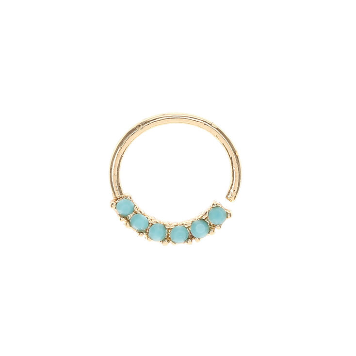 Gold Turquoise Stone Nose Hoop,