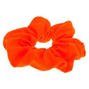 Ribbed Hair Scrunchie - Neon Orange,