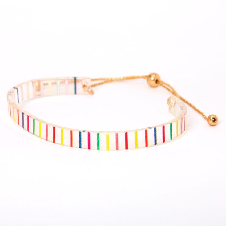 Gold Rainbow Striped Cuff Bracelet,