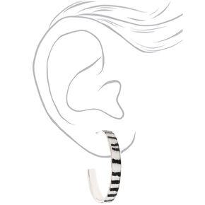 Silver 40MM Fuzzy Zebra Hoop Earrings,