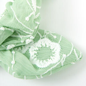 Small Crochet Knotted Bow Hair Scrunchie - Mint,