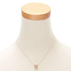 Rose Gold Cursive Initial Pendant Necklace - U,
