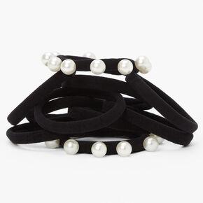 Rolled Pearl Hair Ties - Black, 10 Pack,