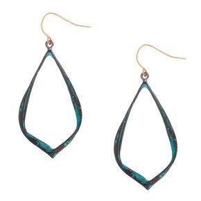 "Gold 2"" Ribbon Patina Drop Earrings - Turquoise,"