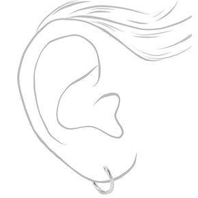 Sterling Silver 10MM Textured Hinge Hoop Earrings,