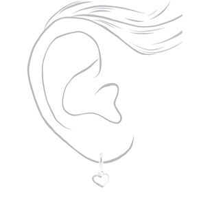 Silver 15MM Heart Charm Clip On Hoop Earrings,