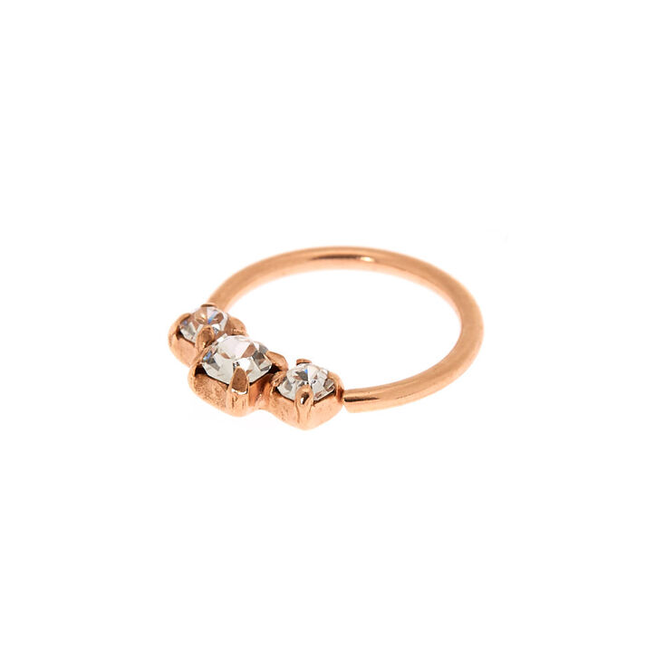 Rose Gold Sterling Silver Crystal Cartilage Hoop Earring,
