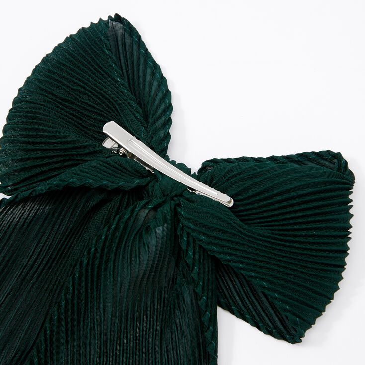 Pleated Chiffon Hair Bow Clip - Emerald,