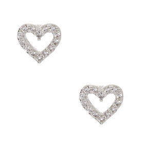 Silver Cubic Zirconia Heart Stud Earrings,