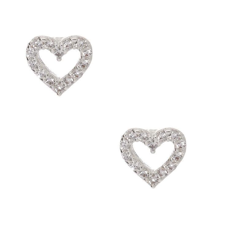Silver Cubic Zirconia Heart Stud Earrings,