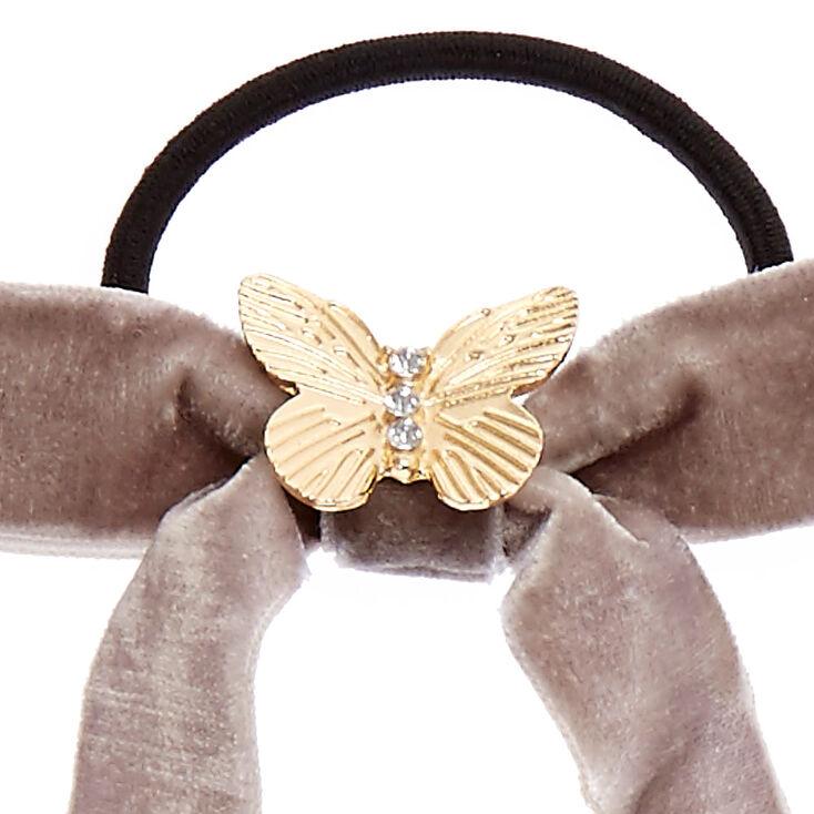 Gray Velvet Bow Hair Tie,