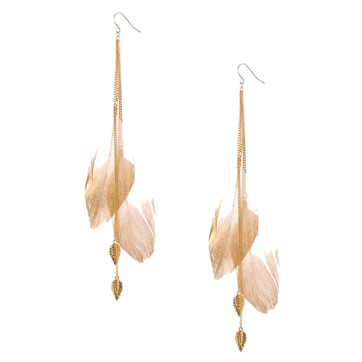 Gold Tone Chain & Large Ivory Feathers,