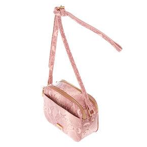 Snakeskin Crossbody Bag - Pink,