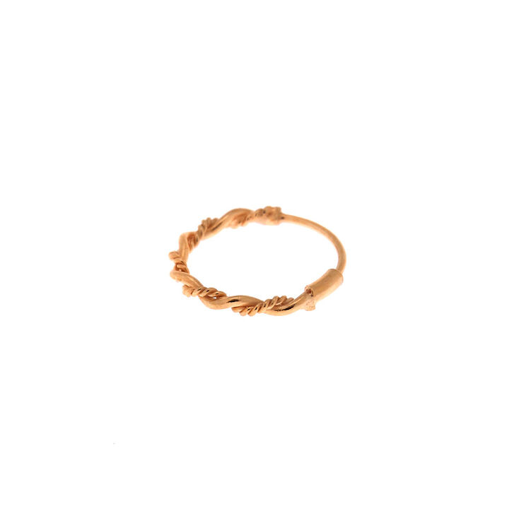 Rose Gold Sterling Silver 22G Chain Twist Nose Ring,