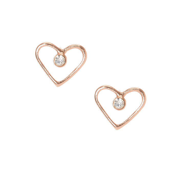 Gold Plated Crystal Heart Earrings,