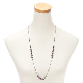 Long Embellished Pendant Necklace - Anodized,