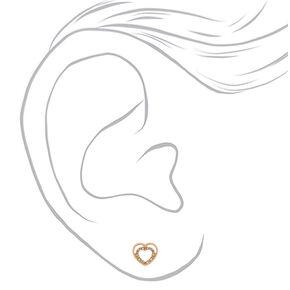Gold Heart Stud Earrings,