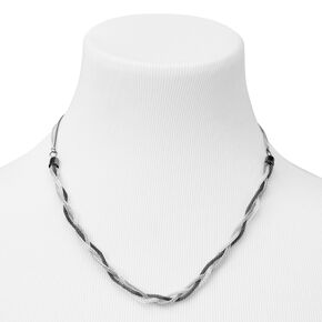 Mixed Metal Braided Chain Multi Strand Necklace,