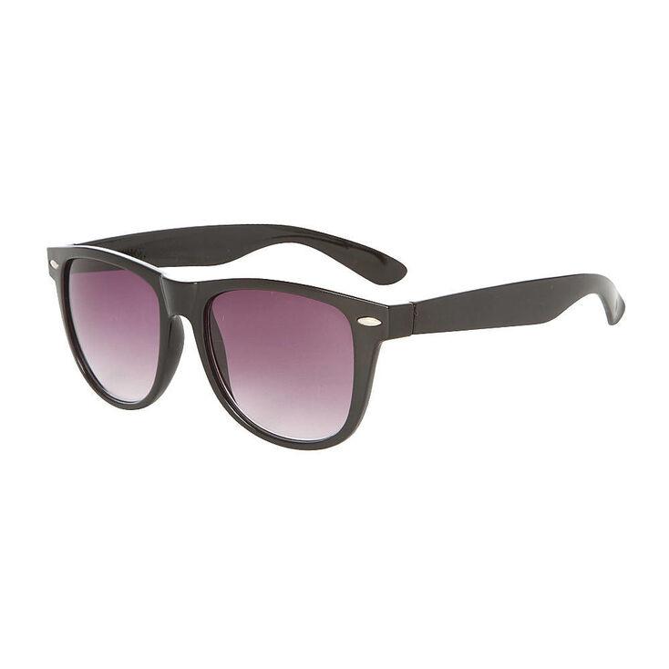 Retro Wayfarer Sunglasses - Black,
