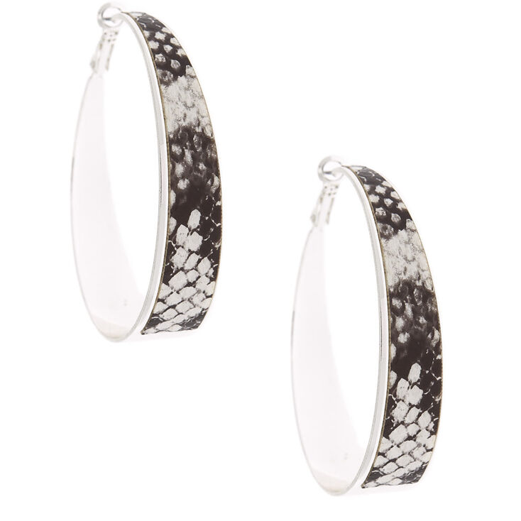 Silver 60MM Snake Skin Hoop Earrings,