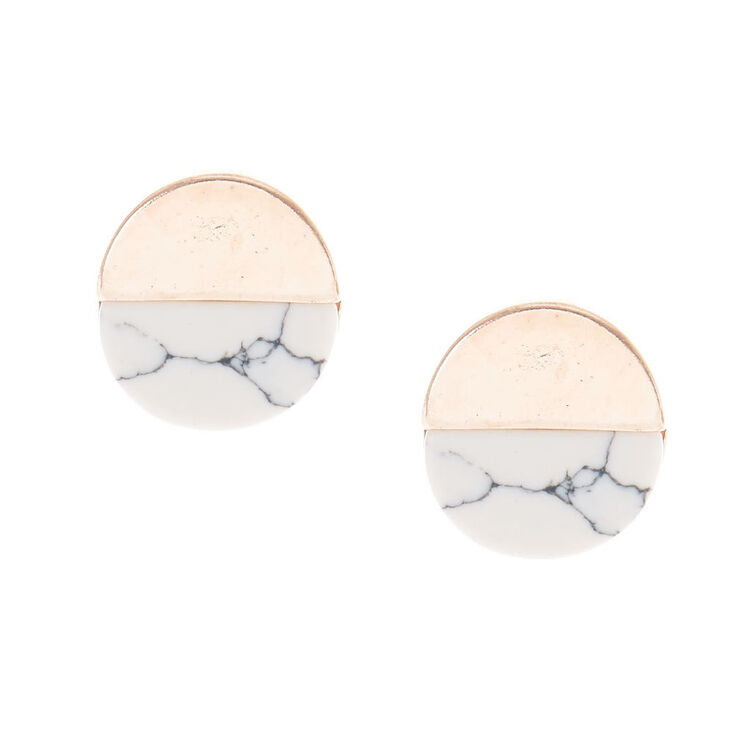 Gold Tone & White Marbled Stone Circle Stud Earrings,