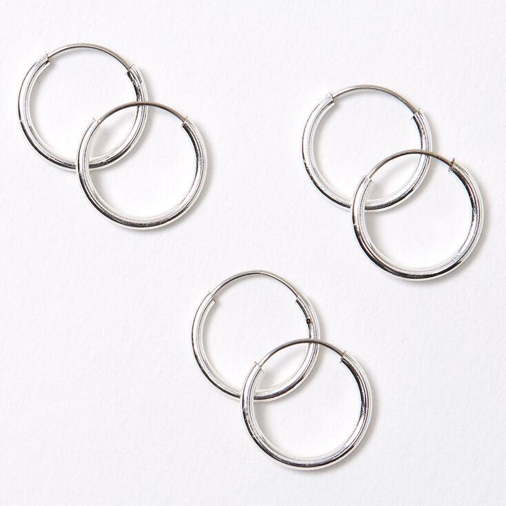 Silver 10MM Skinny Hoop Earrings - 3 Pack,