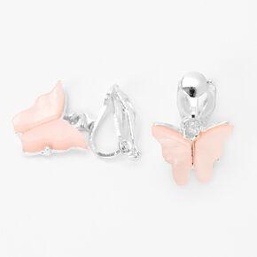Silver Butterfly Clip On Drop Earrings - Pink,