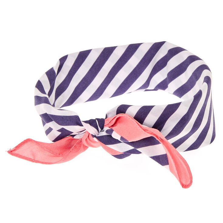 Navy & White Stripe Bandana Headwrap,